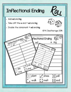 Inflectional Ending practice for 1st grade. Fun center or enrichment ...