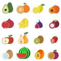coleta de frutas ícones Vetor grátis