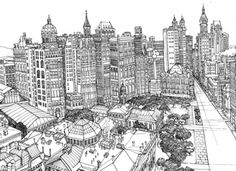 London Skyline by Abi Daker;  one of many line drawings of cities