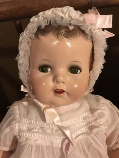 "Antique IDEAL Composition Baby Doll, BEAUTIFUL! 18"" Flirty Eyes 