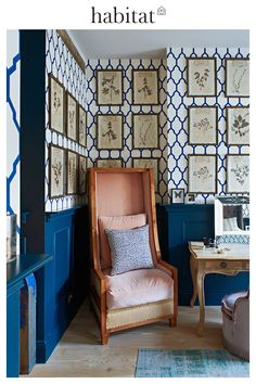 ned corbett winder bedroom with pink armchair Mismatched Furniture, Amsterdam Houses, Changing Room, House Tours, Habitats, Armchair, Dining Chairs, Gallery Wall, The Originals