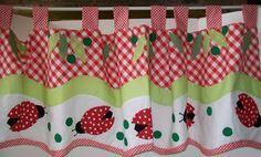 "Valance Applique Ladybug Leaves 60"" by 20"" tab top red green Gingham topper #BRITANNICAHOMEFASHIONS #Cottage #Ladybug #Valance"