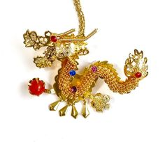 Vintage Chinese Dragon Necklace Brooch Pin by silvermoonstars