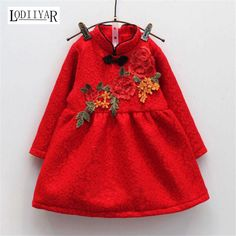 >> Click to Buy << Toddler Girl Dresses Chinese New Year Lace Embroidery Flowers Long Sleeve Baby Girl Clothes A-Line Red Dress For Party Spring  #Affiliate