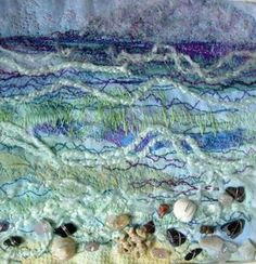 Cath Stonard Textile Arts - Seashore - self dyed fabric, sun printing, fabric manipulation, hand stitch, free machine stitch, couching and beading. hand stitched, onto backgrounds of rusted cotton fabric.