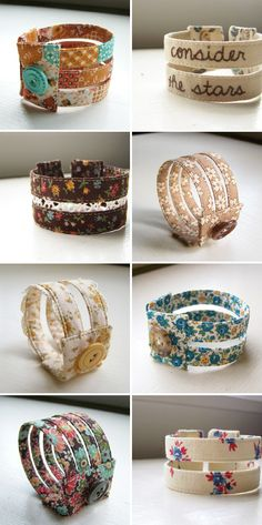 Handmade, vintage inspired fabric cuffs by Ponder and Stitch | Emma Lamb