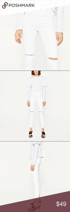 NWT Zara  white high waist jeggings New with tags size 4. %2 elastane Zara Jeans Skinny