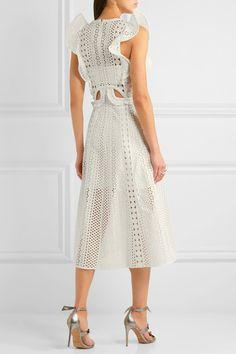 Self-Portrait - Ruffled Cutout Guipure Lace Midi Dress - White - UK