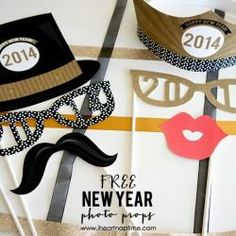 Free Printable 2014 New Year's Photo Props