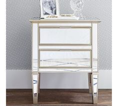 Mirrored furniture always makes a bold design statement. Framed in hardwood, the Park Nightstand is mirrored on the front, sides and top, and beautifully evokes the symmetry of early Empire furniture. Mirror Chest Of Drawers, Mirrored Nightstand, 2 Drawer Nightstand, Mirrored Furniture, Bedside, Home Furniture, Nightstands, Dresser, Empire Furniture