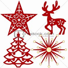 Christmas tree decoration silhouettes