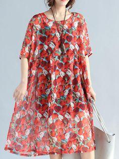 Women Floral Printed Half Sleeve High Waist Loose Chiffon Dresses