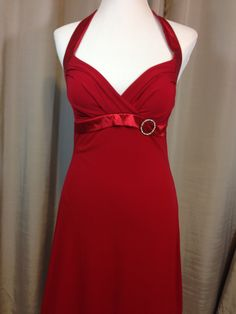 Sexy Red #Wiggle Dress with Red Ribbon and Rhinestone Brooch Trim by Ruby Rox, Ladies Small by Oldtonewjewels on Etsy