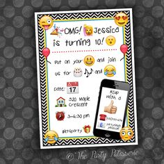 EMOJI Birthday Invitation / Digital File by ThePartyPatisserie on Etsy https://www.etsy.com/ca/listing/384688088/emoji-birthday-invitation-digital-file