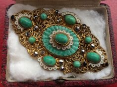 Vintage Brooch Large 1920s Czech Art Deco Satin Glass Enamel  Crystal Jewellery | Jewellery & Watches, Vintage & Antique Jewellery, Vintage Costume Jewellery | eBay!