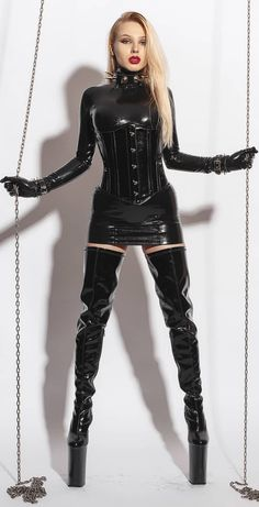 Crotch Boots, Latex Wear, Vinyl Dress, Leder Outfits, My Wife Is, Killer Heels, Dress With Boots, High Boots, Heeled Boots