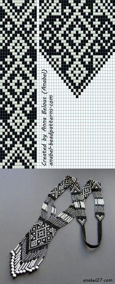 Схема черно-белого гердана | - Схемы для бисероплетения / Free bead patterns -