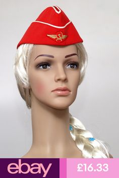 Authentic Red garrison cap of the stewardess Aeroflot Russian Airlines, Pilotka Garrison Cap, New Shoes, Cotton Fabric, Hats, Red, Costume, Ebay, Color, Women