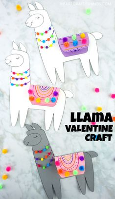 Adorable Llama Valentine Craft for Kids with a free template. You can use it for a Mother's Day card too or for a cute Llama craft for kids any time of year. Adorable Valentine Card idea for kids. #iheartcraftythings