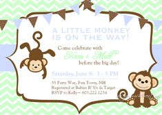 Best Monkey Baby Shower Invitations Designs Ideas