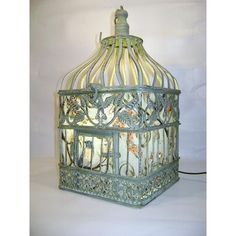 Birdcage Lamp, Shabby Chic, Green, Blue, Branches, Vines, Flowers, Free Standing, Plug In by etsy.com $0