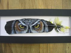 Great Horned Owl Eyes - Russ Abbott Hand Painted Feather - COMMISSIONED