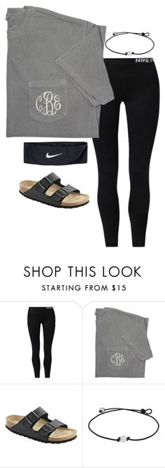 """•monogram•"" by simply-preppy-girl ❤ liked on Polyvore featuring NIKE and Birkenstock"