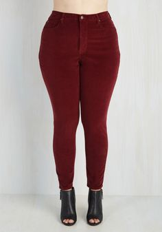 Major Cord Progression Pants in Burgundy - Plus Size. For a look that rocks as much as your aptitude for acoustic guitar, reach for these textured burgundy skinnies! #red #modcloth