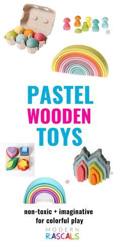 Our pastel wooden toy colors are so buttery soft looking. The colors are simply beautiful. We just love them and your kids will too! The best part is that they are organic, natural, ethical and sustainable kids toys that are FUN! They are sure to promote open ended play and they will be loved for generations to come. Perfect additions to your child's Easter basket! Grimm's Toys, Baby Toys, Toys For Girls, Kids Toys, Sorting Games, Unique Toys, Creative Play, Imaginative Play, Zero Waste