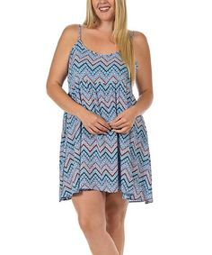 Look what I found on #zulily! Royal Blue & Coral Chevron Empire-Waist Dress - Plus by Bellino #zulilyfinds