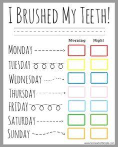 Children's Dental Health Month (February) - Printable Teeth Brushing Chart for passive program