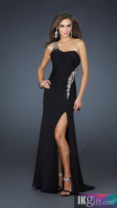 Sheath One-Shoulder Chiffon and Sequins Long Prom Dress