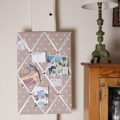Polkadot Memo Board #gifts #devon #homemade #madeindevon Devon, Polka Dots, Boards, Homemade, Holiday Decor, How To Make, Gifts, Home Decor, Planks