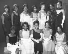 """""""Members of the Unique Social & Community Club pose in formal evening attire, Oct. 8, 1968. Each year the club sponsored a ball at which college-age African American women were introduced to society."""""""