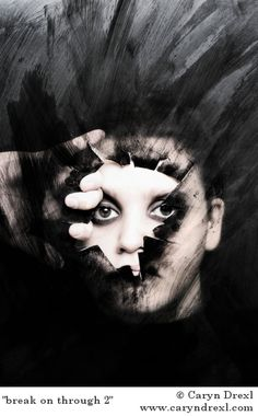 Caryn Drexl - partially obscuring the face through tears and rips