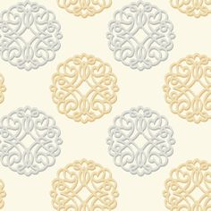 Duo Wallpaper in Ivory, Gold, and Silver design by Candice Olson