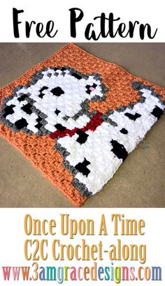 Once Upon A Time free crochet pattern & tutorial to create a show themed graphgan. This week is our beautiful Pongo crochet square! C2c Crochet, Crochet Quilt, Tapestry Crochet, Crochet Chart, Crochet Squares, Crochet Blanket Patterns, Filet Crochet, Crochet Stitches, Crochet Afghans