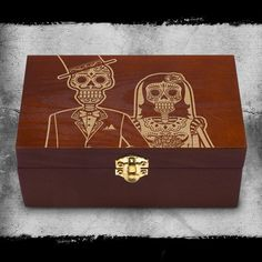 Bride & Groom Dia de los Muertos Couples day of the day wood gift box set