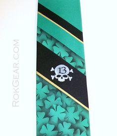 Mens striped shamrock necktie Lucky 13 Skull bones tie by RokGear, $40.00 www.RokGear.com customer service RokGear@gmail.com