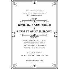 Formal Line Standard Wedding Invitation, Black