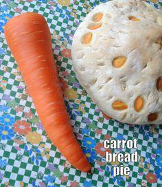 Garlic basil carrot bread pie, so leafy.