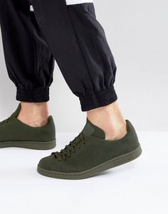 the latest e0ebe 95645 adidas Originals Stan Smith Primeknit Sneakers In Green BZ0120 at asos.com