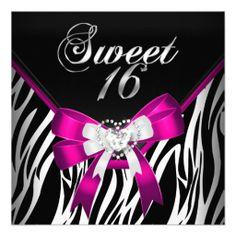Pink Zebra Sweet Sixteen 16 Birthday Black White Custom Invitations