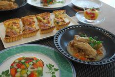 COOKING ROOM 401 茸とブロッコリーのキッシュ、彩り野菜のテリーヌ、骨付きモモ肉の白ワイン煮込み、トマトとオレンジのジュレ