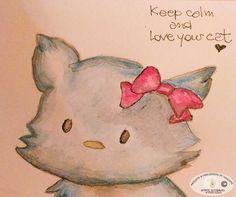 TENTATIVO NR. 2 CON MATITE ACQUERELLABILI: KEEP CALM AND LOVE YOUR CAT http://graficscribbles.blogspot.it/2016/09/keepcalm-hellokitty-acquerelli-matite-tecnicapittorica.html #watercolor #hellokitty