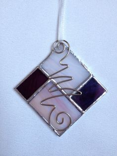 Stained Glass Ornament Purple/ White Square by MamaAgees on Etsy, $6.00