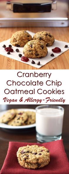 Cranberry Chocolate Chip Oatmeal Cookies Recipe - dairy-free, gluten-free…