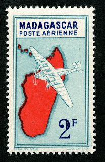 "Madagascar  Air Post 1935-41 Scott C7 ""Airplane and Map of Madagascar"""