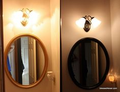 use Rust-oleum's Oil Rubbed Bronze spray paint to update ugly brass fixtures