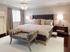 Bedroom: Modern Elegant Bedroom Idea With Black Tufted Headboard Design And Zebra Bench On Darkwood Floor And Grey Carpet Design